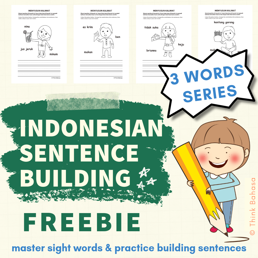 Indonesian TPT Sentence Building Cover FREEBIE